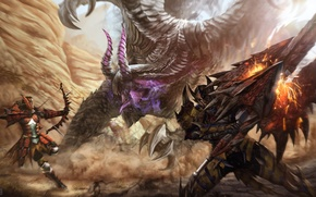 Picture monster, sword, warrior, art, Archer, Capcom, monster hunter 4