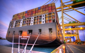 Picture The evening, Pier, Crane, The ship, Utah, A container ship, Terminal, MSC Savona, Feed, Cables