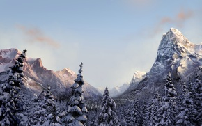 Wallpaper winter, forest, mountains, nature