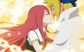 Wallpaper anime, art, Naruto, Naruto, Minato, Namikaze, Yondaime Hokage, Kushina Uzumaki, Namikaze Minato, Kushina, The Fourth ...