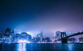 Picture bridge, the city, lights, New York City, Brooklyn Bridge Park