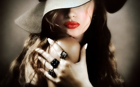 Picture girl, hand, ring, hat, lipstick, red lips