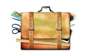 Wallpaper scissors, markers, portfolio, line, handle, pencils, white background, accessories, straps, smartphone, school