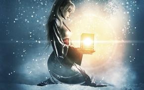 Picture winter, girl, light, snow, art, lantern, sitting