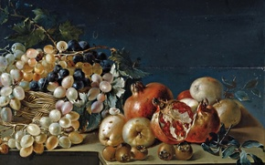 Picture food, picture, Jose Ferrer, Still life with grapes and pomegranates