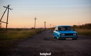 Picture asphalt, posts, blue, blue, 2104, Soviet machine, bodybeat