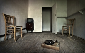 Picture music, room, TV, chair, gramophone