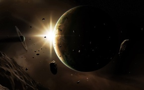 Picture space, light, lights, planet, asteroids, body, meteorites, space
