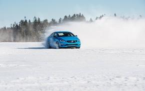 Picture snow, trees, blue, shadow, skid, sedan, s60, volvo, Volvo, polestar, C60