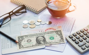 Wallpaper money, table, economy, value