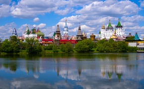 Picture summer, water, nature, the city, reflection, the monastery, Izmailovo