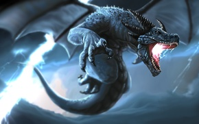 Picture storm, lightning, wings, dragon, the storm, tail, fangs, horns