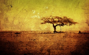 Wallpaper trees, yellow, tree, figure, heat, minimalism, texture, dirt, art, drawings, Africa, texture, yellow