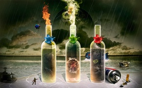 Picture collage, shore, bottle