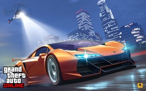 Picture road, machine, police, chase, art, helicopter, Los Angeles, Grand Theft Auto V, gta online
