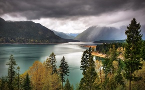 Picture the sky, trees, mountains, clouds, lake, USA, Washington, Olympic National Park