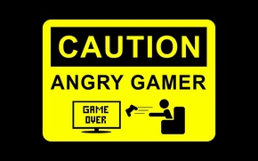 Wallpaper warning, joystick, sign, game over, Caution