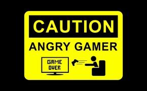 Wallpaper game over, warning, joystick, sign, Caution