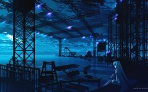 Wallpaper blue, scene, girl, vocaloid