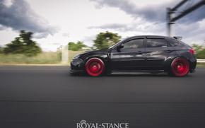Picture turbo, red, subaru, black, japan, wrx, impreza, jdm, tuning, sti, low