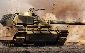 Picture technique, tank, polygon, weapons, Armata, fighting