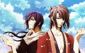 Wallpaper Saitou Hajime, the sky, the wind, Shinsengumi Kitano, guys, Okita, Hakuouki, petals, Okita Souji, clouds, ...