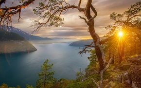 Wallpaper mountains, trees, Bay, fjords, Norway, the rays of the sun, rocks, stones, sunset