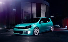 Picture Volkswagen, Blue, Golf, GTI, Stance, Low, Dapper