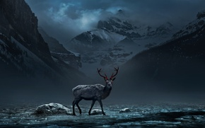 Picture snow, mountains, radiation, deer, art, red eyes, alexiuss, nuclear winter