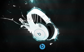 Picture background, paint, headphones