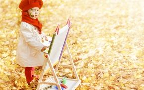 Picture autumn, leaves, child