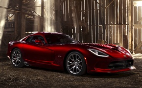 Picture light, red, Board, Dodge, Dodge, supercar, the barn, drives, Viper, the front, GTS, Viper, SRT