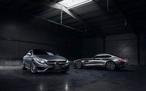 Picture Mercedes-Benz, German, Cars, AMG, Smoke, S Class, Automotive, Angar