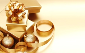 Wallpaper Golden, gifts, tape, gift, background, toys, gold, Wallpaper, new year, new year, gold, ribbon, balls, ...