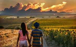 Picture road, the way, dal, pair, lovers