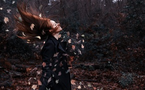 Picture the wind, girl, the situation, leaves