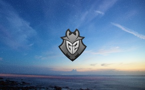 Picture sea, the sky, sunset, the evening, logo, Counter-Strike, League of Legends, csgo, Global Offensive, eSports, ...