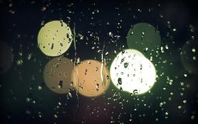 Wallpaper lights, macro, glass, light, mood, photo, rainy night