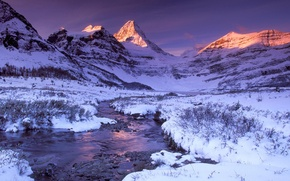 Picture winter, snow, sunset, mountains, river