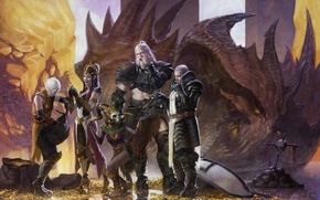 Picture Diablo 3, art, Witch Doctor, Barbarian, Monk