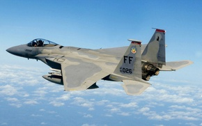 Picture the sky, clouds, the plane, fighter, f-15, eagle, mcdonnell douglas