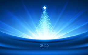 Picture light, blue, Shine, new year, Christmas, tree, star