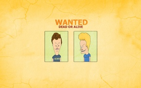 Wallpaper minimalism, Beavis and Butthead, the trick, Wanted Dead Or Alive, Beavis and Butt-head, the inscription