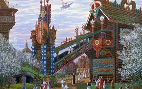 Picture spring, painting, flowering, ancient, Vsevolod Ivanov, Slavic, wooden architecture, strange, celestial chariot, log home, Russian …