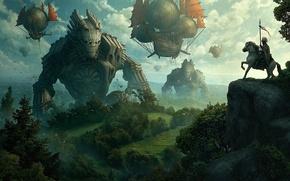 Picture fog, rock, horse, ships, art, Kerem Couplets, rider, volatile, giants