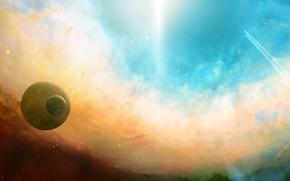 Wallpaper space, planet, light, lights, dual monitor, Space, flight, trajectory, stars, nebula