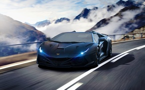 Picture Lamborghini, Speed, Front, Tuning, Aventador, Road, Supercar, Fog, Hyper