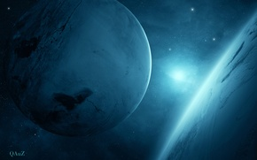 Picture light, two, Sci Fi, Planet blue