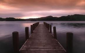Wallpaper hills, lake, 157, pier, sunset
