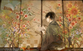 Picture flowers, birds, anime, characters, guy, kimono, bookmark, tirade